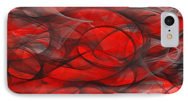 Inevitable Course - Red And Gray Modern Art IPhone Case by Lourry Legarde