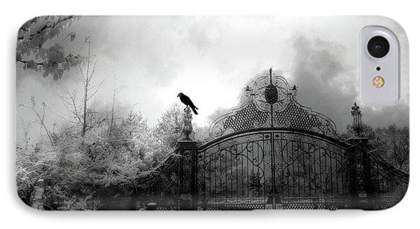 IPhone Case featuring the photograph Infrared Gothic Raven On Gate Black And White Infrared Print - Solitude - Gothic Raven Infrared Art  by Kathy Fornal