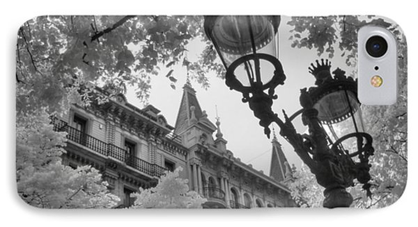 Infrared Street Light Black And White Barcelona Spain IPhone Case by Jane Linders