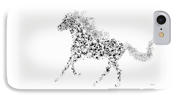 IPhone Case featuring the drawing Ink Splattered Stallion by Nick Gustafson