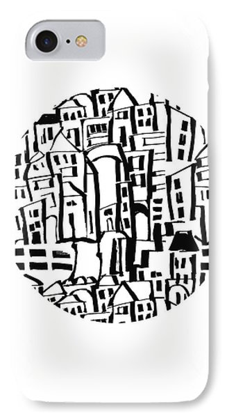 Inky Village Sketch Ball- Art By Linda Woods IPhone Case by Linda Woods