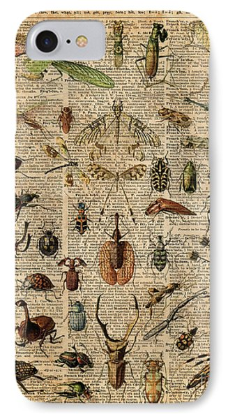 Insects Bugs Flies Vintage Illustration Dictionary Art IPhone Case by Jacob Kuch