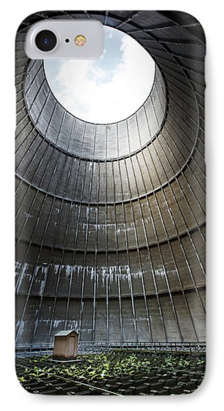 IPhone Case featuring the photograph Inside Industrial Cooling Tower Stands A Mysterous Little House by Dirk Ercken