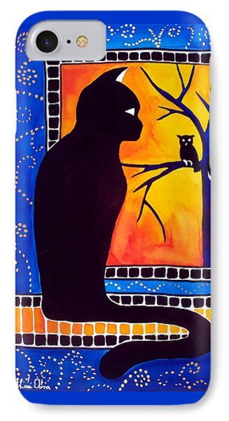Insomnia - Cat And Owl Art By Dora Hathazi Mendes IPhone Case by Dora Hathazi Mendes