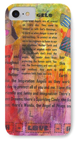 IPhone Case featuring the mixed media Inspiration Angels II by Angela L Walker