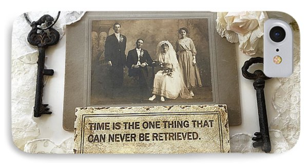 Inspirational Art - Vintage Wedding Photo With Antique Keys - Inspirational Vintage Black Keys Art  IPhone Case by Kathy Fornal