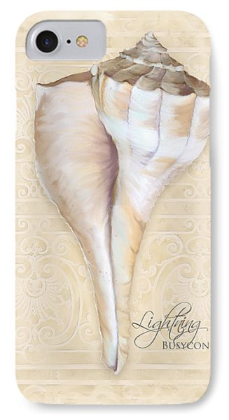 Inspired Coast 3 - Lightning Whelk Shell Busycon Contrarium IPhone Case by Audrey Jeanne Roberts