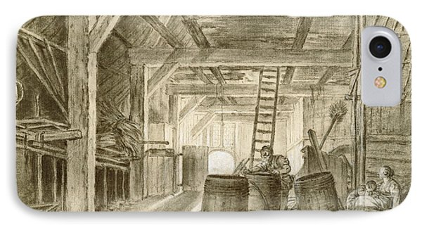 Interior Of A Barn With A Family Of Coopers IPhone Case