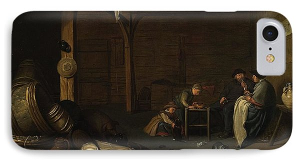 Interior Scene With A Peasant Couple And Two Children IPhone Case by MotionAge Designs