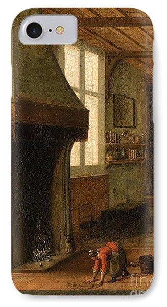 Interior Scene With A Woman Cleaning IPhone Case