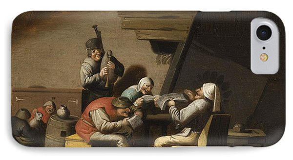 Interior Scene With Peasants Singing And Making Music IPhone Case by MotionAge Designs