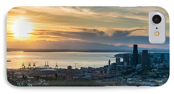 Interstate 90 Aerial Seattle Skyline IPhone Case by Mike Reid
