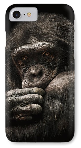 Chimpanzee iPhone 7 Case - Introvert by Paul Neville