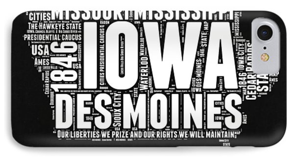 Iowa Black And White Map IPhone Case