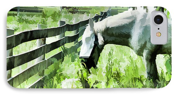 IPhone Case featuring the digital art Iowa Farm Pasture And White Horse by Wilma Birdwell