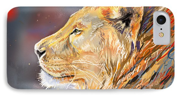 Ipad Painting - Lion Profile IPhone Case by Aaron Spong