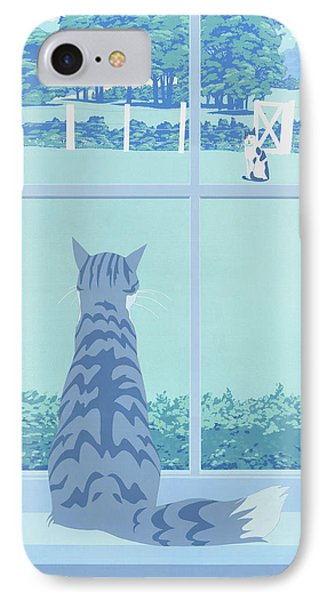iPhone Galaxy Case -  Cat Staring Out Window - stylized retro pop art nouveau 1980s landscape scene IPhone Case by Walt Curlee