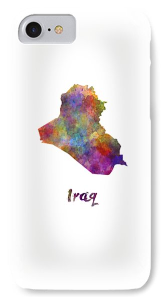 Iraq In Watercolor IPhone Case by Pablo Romero