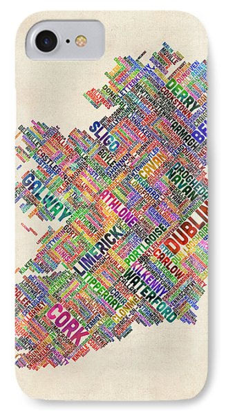 Ireland Eire City Text Map Derry Version IPhone Case by Michael Tompsett
