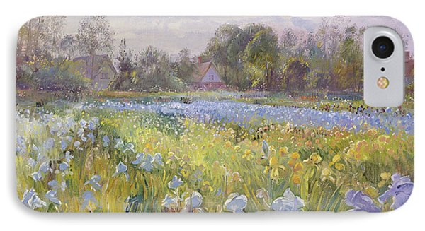 Iris Field In The Evening Light IPhone Case by Timothy Easton
