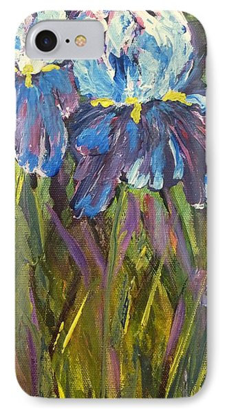 IPhone 7 Case featuring the painting Iris Floral Garden by Claire Bull
