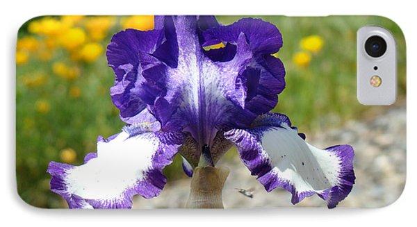 Iris Flower Purple White Irises Nature Landscape Giclee Art Prints Baslee Troutman Phone Case by Baslee Troutman