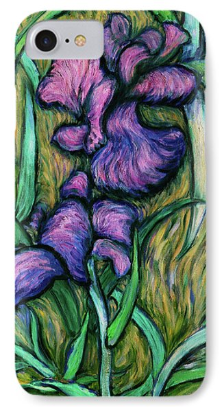 IPhone Case featuring the painting Iris For Vincent - Contemporary Fauvist Post-impressionist Oil Painting Original Art On Canvas by Xueling Zou