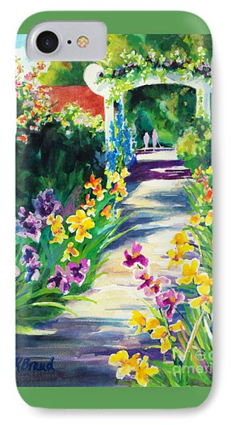IPhone Case featuring the painting Iris Garden Walkway   by Kathy Braud