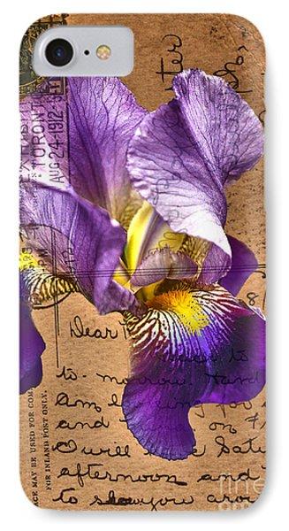 Iris On Vintage 1912 Postcard IPhone Case