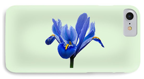 IPhone Case featuring the photograph Iris Reticulata, Green Background by Paul Gulliver