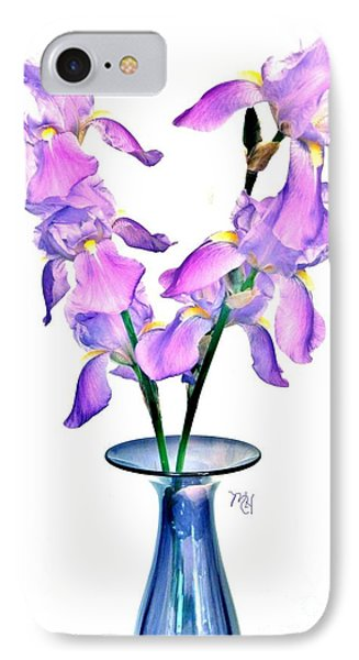 Iris Still Life In A Vase IPhone Case by Marsha Heiken