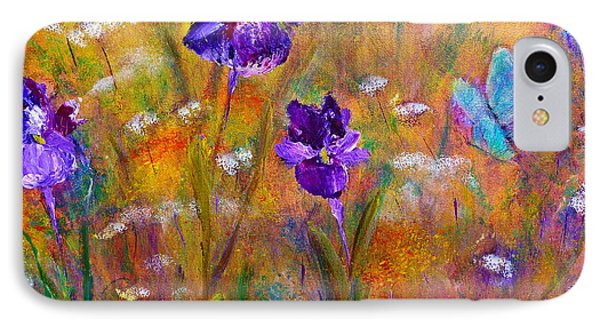 Iris Wildflowers And Butterfly IPhone Case by Claire Bull