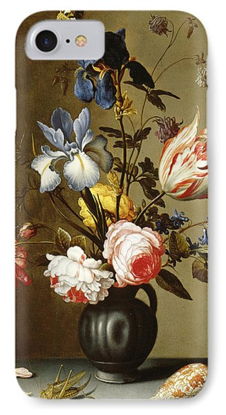 Irises, Roses, Columbine, Hyacinth And A Tulip In A Black Pottery Pitcher IPhone Case by Balthasar van der Ast