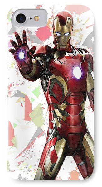 IPhone Case featuring the mixed media Iron Man Splash Super Hero Series by Movie Poster Prints