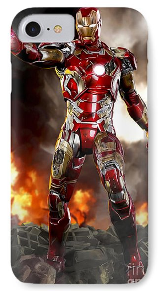 Iron Man With Battle Damage IPhone Case by Paul Tagliamonte
