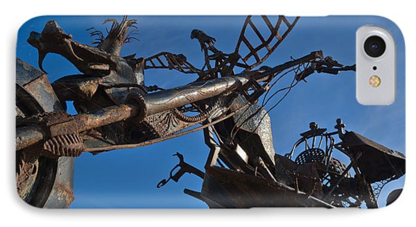 Iron Motorcycle Sculpture In Faro IPhone Case by Angelo DeVal
