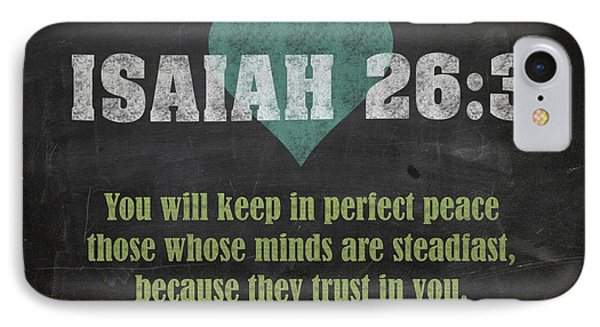 Isaiah 26 3 Inspirational Quote Bible Verses On Chalkboard Art IPhone Case