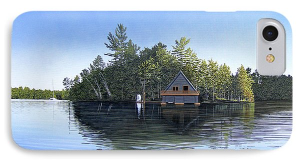 IPhone Case featuring the painting Island Boathouse Muskoka  by Kenneth M Kirsch