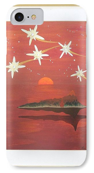 IPhone Case featuring the painting Island In The Sky With Diamonds by Ron Davidson