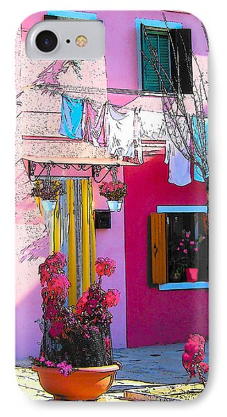 Island Of Burano Houses - The Washing Line IPhone Case by Jan Matson