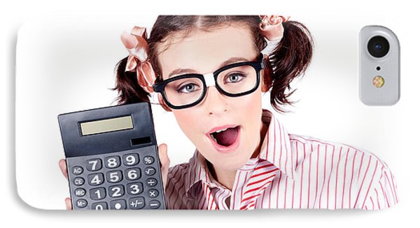 Isolated Finance Business Woman Holding Calculator IPhone Case