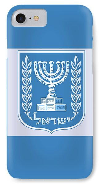 IPhone Case featuring the drawing Israel Coat Of Arms by Movie Poster Prints