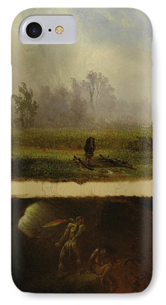 It Rains It Shines, The Devil Whipping His Wife IPhone Case by William Holbrook Beard