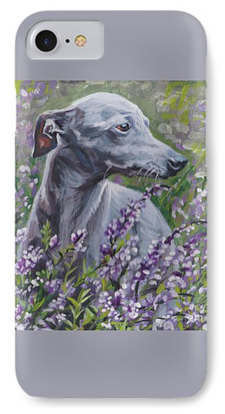 IPhone Case featuring the painting  Italian Greyhound In Flowers by Lee Ann Shepard