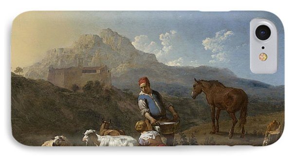 Italian Landscape With Girl Milking A Goat Phone Case by Karel Dujardin
