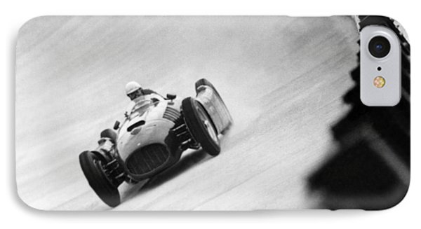 Italian Racing Driver Nino Farina Driving His Ferrari At Monza  IPhone Case