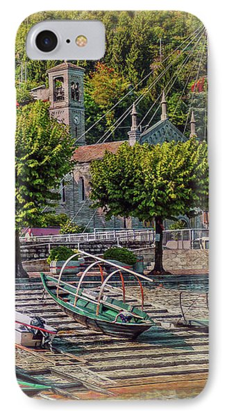 Italian Scenic Boat Dock IPhone Case by Hanny Heim