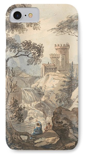 Italianate Landscape With Castle, Cascade And Anglers IPhone Case by Paul Sandby