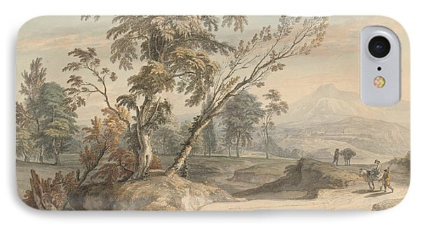 Italianate Landscape With Travellers No. 2 IPhone Case by Paul Sandby