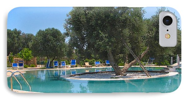 Italy Resort- Olive Tree In Pool IPhone Case